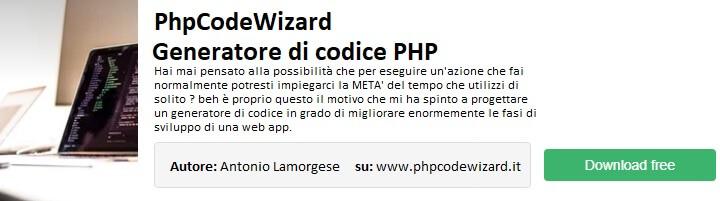 phpcodewizard - un generatore di codice PHP