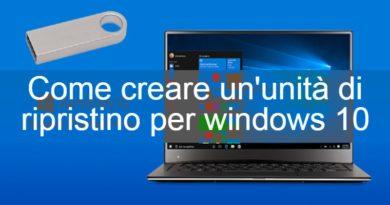 come creare disco di ripristino windows 10