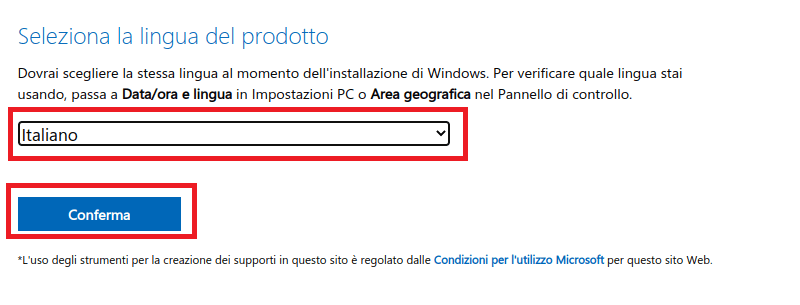 seleziona la lingua di windows 10