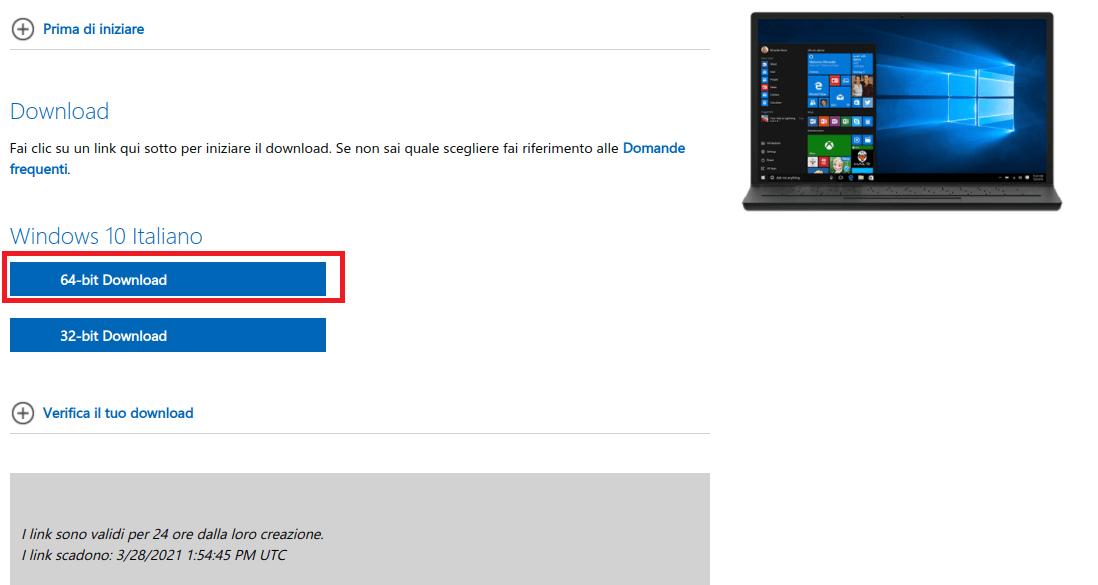 windows 10 download iso italiano 64 bit