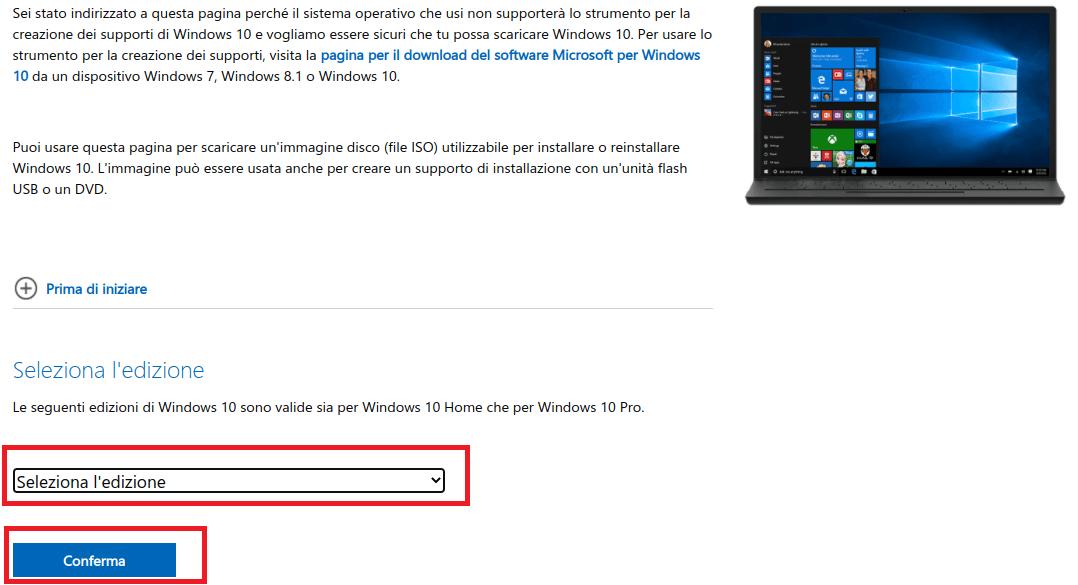 seleziona edizione windows 10