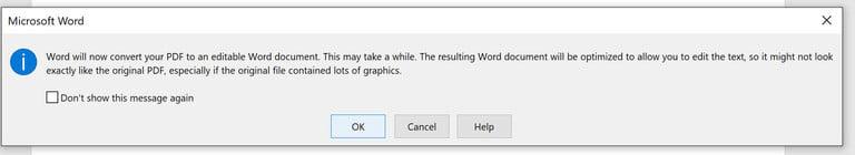 avviso conversione documento pdf in word