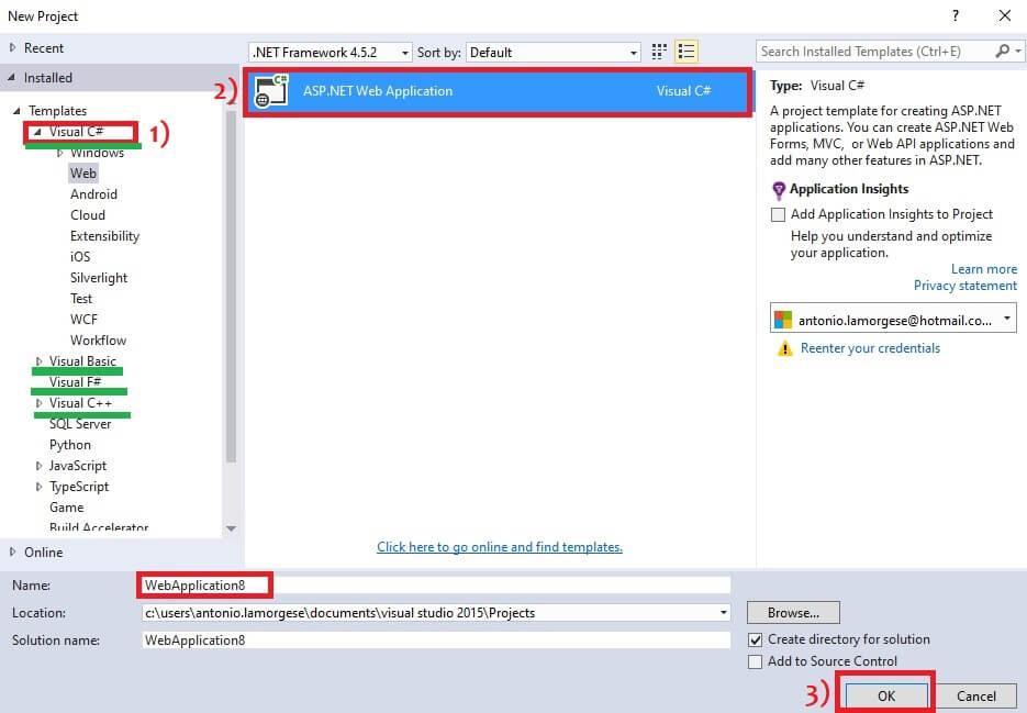 visual studio code new web application
