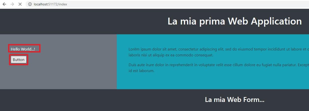 visual studio web application in browser