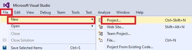 visual studio new project web application