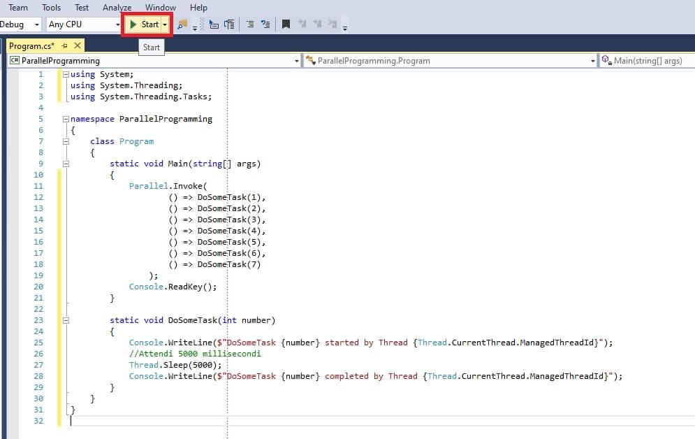 eseguire un'applicazione console con visual studio in c#