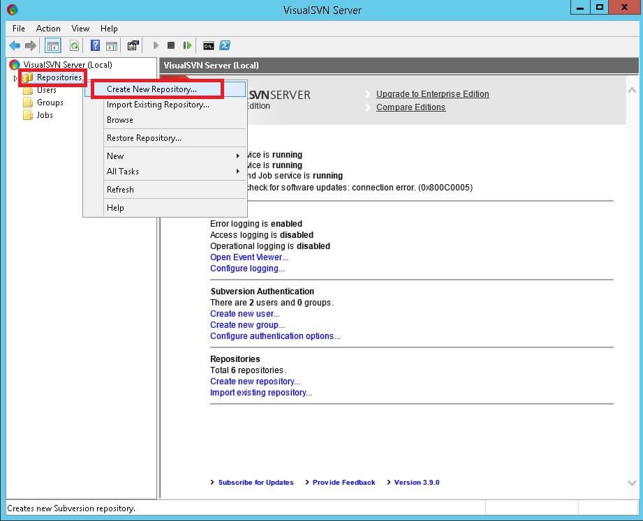 crea nuovo repository SVN