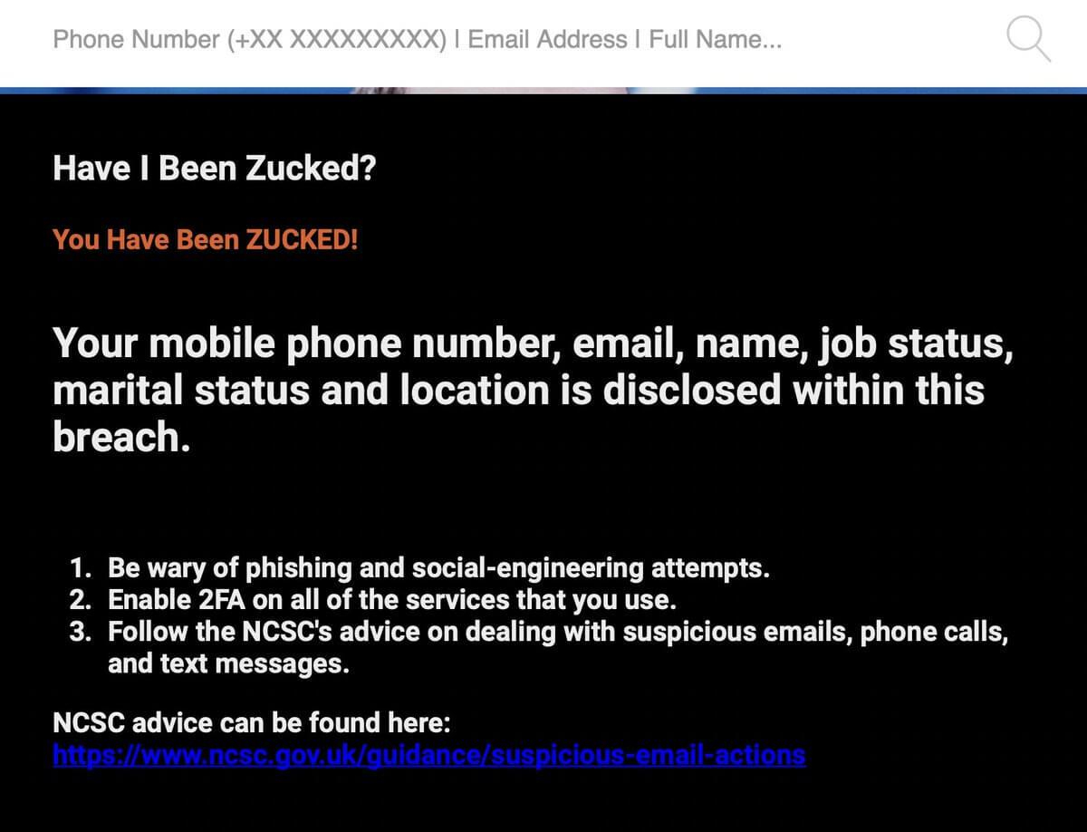 violazione della privacy con Have I Been Zucked
