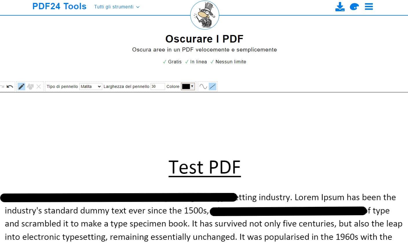 oscurare parti di un pdf
