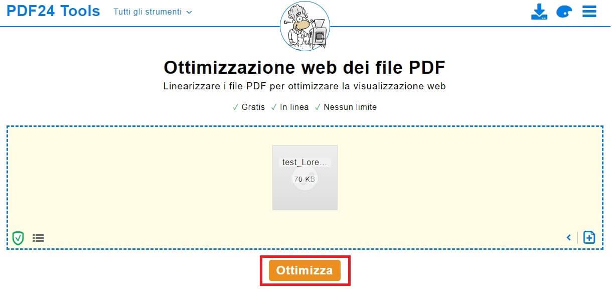ottimizzare pdf per il web