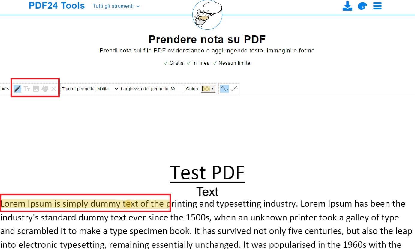 inserire note su pdf