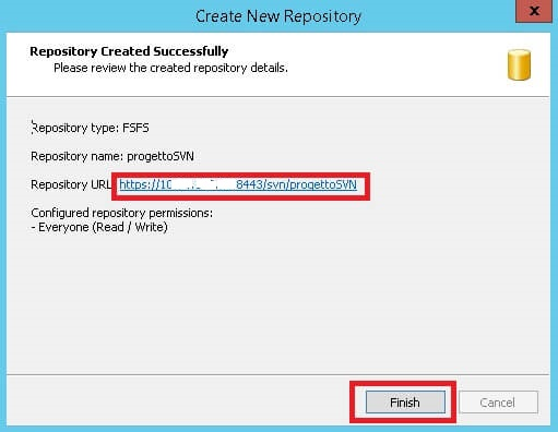 repository SVN creato con successo
