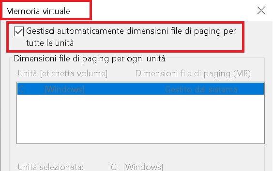 impostazione della memoria virtuale di windows 10