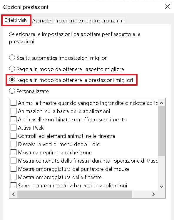 ottimizzare windows 10 regolandolo in modo da ottenere le prestazioni migliori