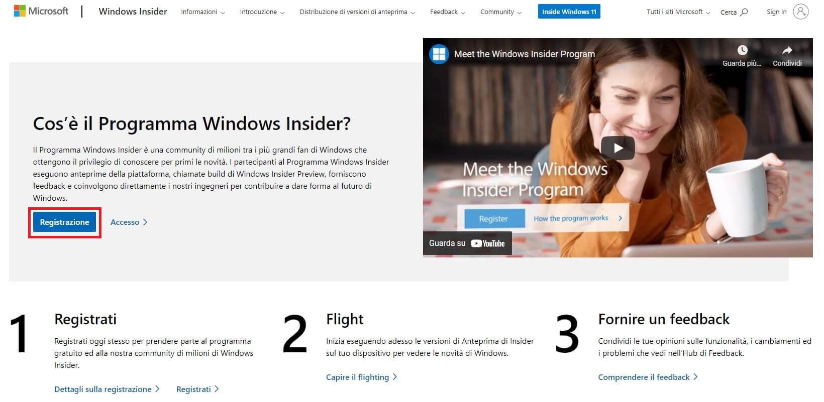 partecipa al programma Windows Insider per scaricare e provare windows 11