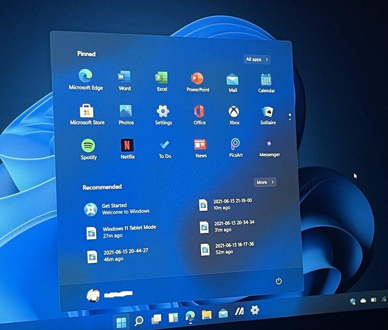 Nuovo pannello start di Windows 11