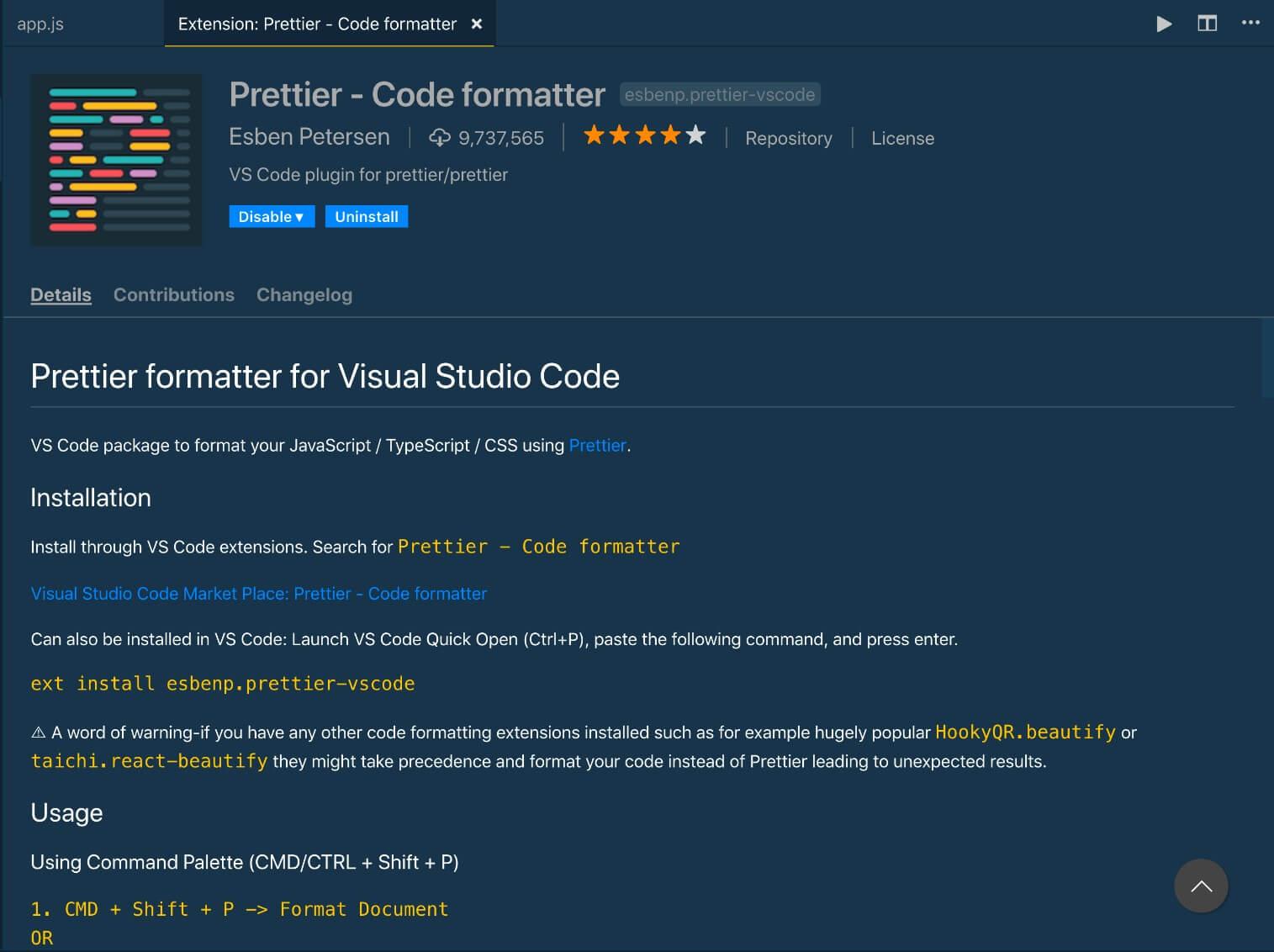 come creare un programma formattato con l'estensione prettier in visual studio code