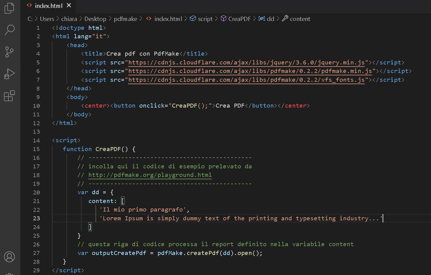 crea pdf con pdfmake e visual studio code