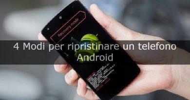ripristinare telefono android